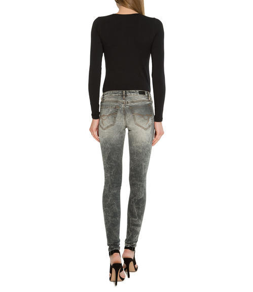 Světle šedé džínové kalhoty se sepraným efektem|32 - 4