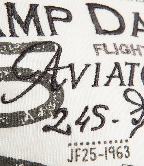 Bílé tričko s dlouhým rukávem a všitým nápisem|M/L - 4