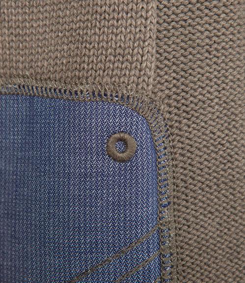 Khaki pletený svetr s výšivkou|S - 4