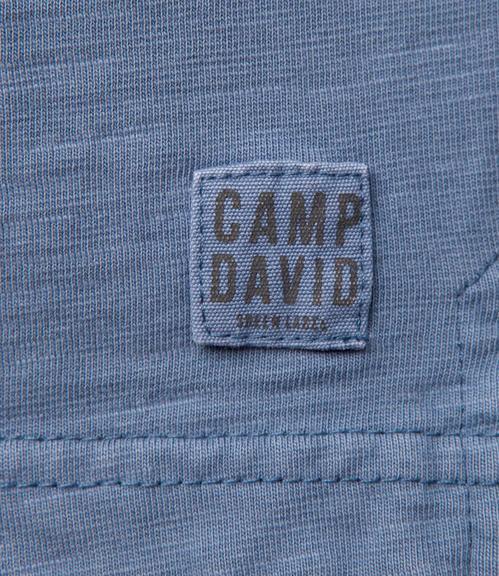 Modré tričko s dlouhým rukávem a módními knoflíky S - 4
