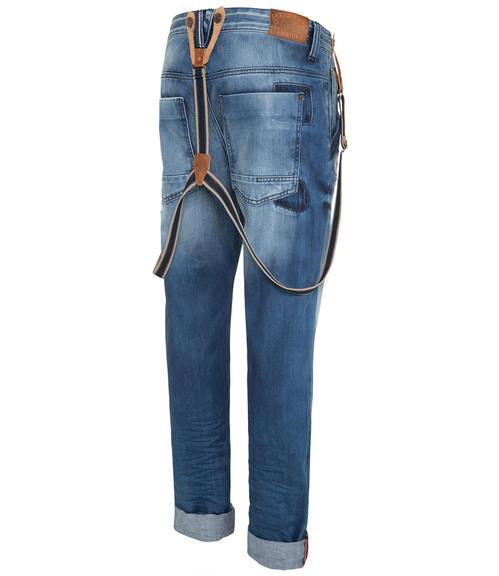 Džínové kalhoty s kšandami 34 - 4