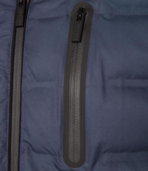Tmavě modrá bunda s náprsní kapsou|48 - 4