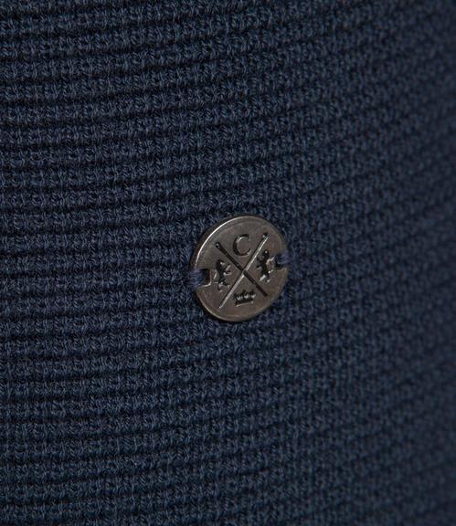 Tmavě modrý pletený svetr|L - 4