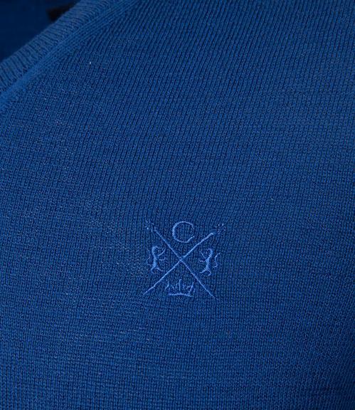 Tmavě modrý svetr s véčkovým výstřihem|S - 4