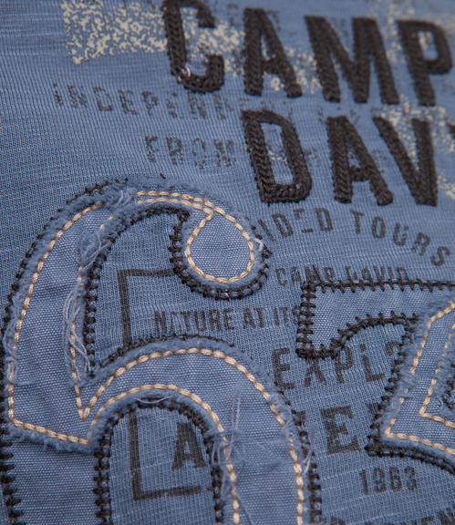Modré tričko s dlouhým rukávem a módními knoflíky S - 6