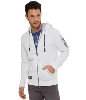 Bílá mikina na zip s kapucí