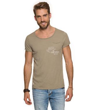 Khaki tričko s náprsní kapsičkou
