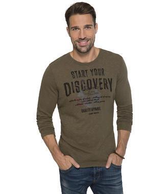 khaki tričko s dlouhým rukávem a potiskem