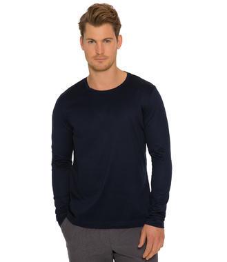 Tmavě modré tričko s dlouhým rukávem a logem