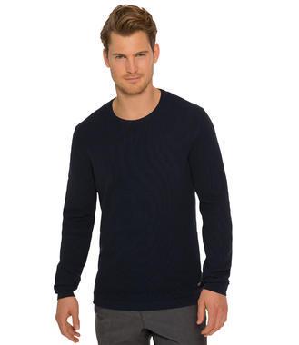 Tmavě modrý pletený svetr