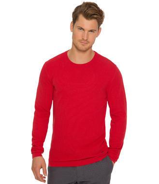 Červený pletený svetr