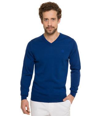 Tmavě modrý svetr s véčkovým výstřihem