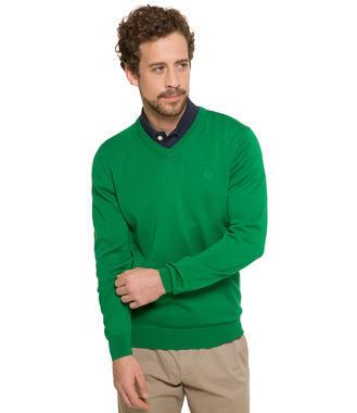 Zelený svetr s véčkovým výstřihem