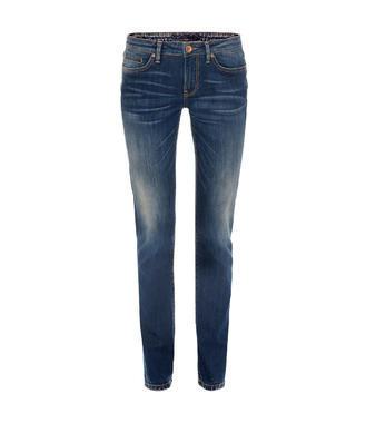 Tmavě modré džíny s kontrastním lemováním
